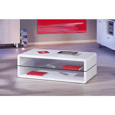 Couchtisch weiß hochglanz Wohnzimmertisch Glas Wohnzimmer Tisch 2 Ablagen modern