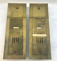 lot of 2 Vintage Apartment Complex Brass Mailboxes single Doors wall mount MCM