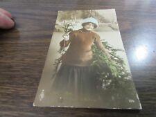 ORIGINAL ANTIQUE - VICTORIAN YOUNG LADY  - COLOR POST CARD - 1915