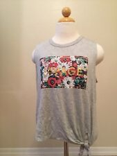 Hippie Chic Juniors Gray Savage Floral Sleeveless Tanktop Size Large New