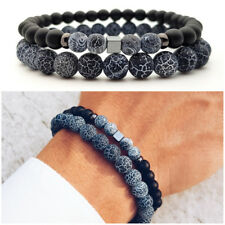 Bracciale uomo pietra SET braccialetti pietre dure in nero blu naturali da agata