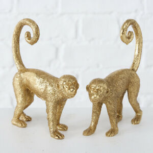 2x Standing Resin Gold Long Tail Spider Monkey Lover Gift Figure Decoration Set