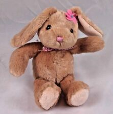 """Brown Easter Bunny Bean Bag Plush with Pink Bow 9"""""""