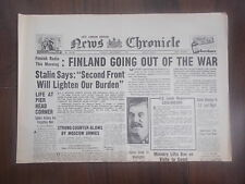 NEWS CHRONICLE WWII NEWSPAPER NOVEMBER 7th 1941 FINLAND GOING OUT OF THE WAR