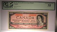 1954 Canada $1000 Note with Devil's Face Portrait BC-36 - PCGS 58 - Rare!