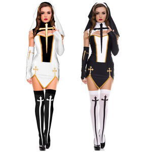 Womens Sexy Bad Habit Nun Costume with Thigh Highs Stockings