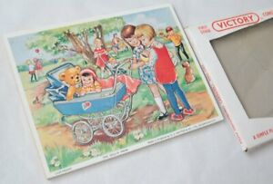 Vintage Victory Simple Plywood Jigsaw Constructional Puzzle 7452 Doll's Pram