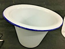 Old Vintage Collectible  White and Blue Color Porcelain Enamel Fine Big Pot