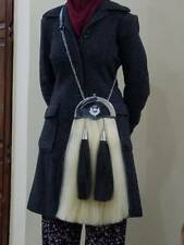 Original Long Horse Hair Sporran with 2 White Tassels Handmade Cowhide Leather