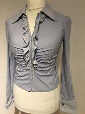 Karen Millen Blue Corset Ruffle Blouse Shirt Size 12
