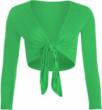 Womens Knot Tie Up Front Shrug Ladies Open Cropped Bolero Short Sleeve All Sizes