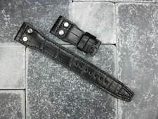 22mm Black Alligator Skin Strap Watch Band with Rivet IWC BIG PILOT Button 22