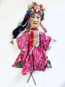 Puppet Marionette Female Wood Doll Burmese Folk Art Puppet Asian Collectable