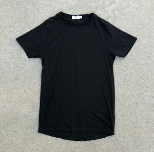 TOPMAN Men's Premium Long Cut Black Crew Neck Short Sleeve T Shirt | Small