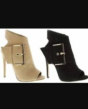 Tony Bianco Black Leather Open Toe Boots Heels with Gold Buckle Sz 9 GUC