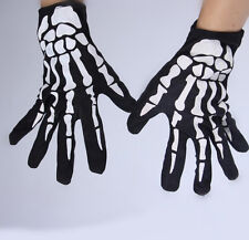 Black Skeleton Bone Print Death Devil Gloves Halloween Goth Fancy Dress One Size