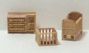 Dollhouse Miniature 1:144 Scale Country Nursery Room Furniture Kit (3 Pc)