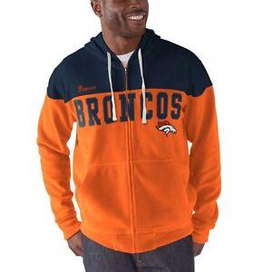 G-III Sports Denver Broncos Men's First Down Full Zip Hoody Fleece Sweatshirt