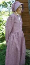Ladies Prairie Pioneer Costume Dress & bonnet set rose pink calico size 8