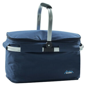 Andes Folding Picnic/Camping Cooler Hamper Basket Insulated Cool Bag