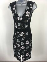 Women's French Connection Black Floral Sleeveless V-Neck Fitted Dress Size UK 10