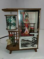 VTG. JAPANESE Geisha Girl DIORAMA SHADOW BOX NIGHT LIGHT LAMP Westland Co. Japan