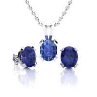 STERLING SILVER TANZANITE NECKLACE AND EARRING SET-in 3 sizes and 3 metal color