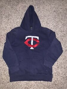 Boys Minnesota Twins Blue Pullover Hooded Sweatshirt Hoodie Youth Size L 14/16