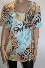 beme Brand Multi Print Mesh Lace Short Sleeve Top PLUS Size XS BNWT #LIN