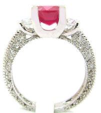 14k Oro Blanco 3,25 Ct Rubí & Redondo Diamantes Antiguo Diseño Deco Set Nupcial
