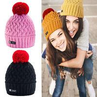 Winter Women Ladies Knitted Beanie Hat Pom Pom Cookie Style Warm Fashion Ski LA