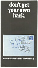 DON'T GET YOUR OWN BACK PLEASE ADDRESS CLEARLY G.P.O FOLD OUT LEAFLET