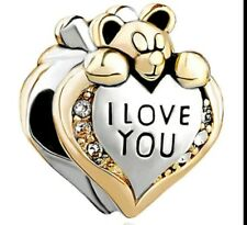 I Love You Bear Bracelet Bead Charm Mum Mother Valintines day birthday CH61