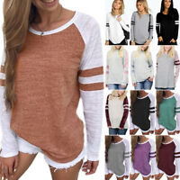 Womens Casual T-shirt Long Sleeve Striped Cotton Blouse Tops Shirt Plus Sizes