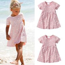 Cute Baby Kids Girls Summer Dress Short Sleeve Love Heart Print Dress Clothes