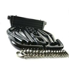 Universal Turbo 28 Intercooler 25 8pcs Aluminum Piping Kit Pipe Black