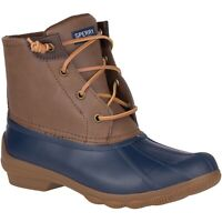 Sperry Syren Gulf Waterproof Lace Up Duck Boots Brown navy Blue Womens Size 11