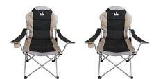Royal Adjustable Folding Camping Chair Heavy Duty Max Load 120kg x 2Black