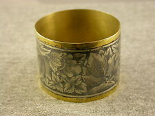 Antique Russian Silver Napkin Ring Nielo 875 Floral Motifs nice and RARE