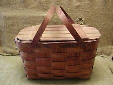 Vintage Weaved Picnic Basket > Antique Box Boxes Wooden