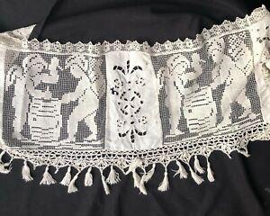 Vintage Filet crochet lace lamp shade cover? cherubs