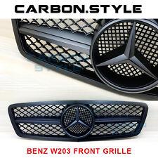 For C200 C240 C280 C320 Mercedes Benz W203 C-Class Front Grill 01-07 Matte Black