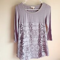 Anthropologie Meadow Rue Cappricio Lace Overlay 3/4 Sleeve Blouse Size XS