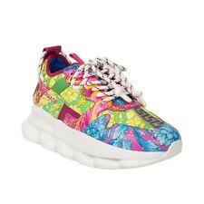 NIB VERSACE Flou Barocco Print Chain Reaction Sneakers Shoes 9/42