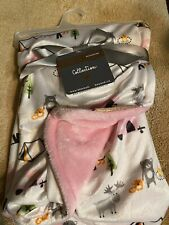 New listing Blankets & Beyond Pink Baby Plush Blanket Campers Camping Bears Reversible Nwt