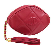 CHANEL Quilted Fringe CC Clutch Bag Pouch 1098978 Purse Red Leather AK25449d
