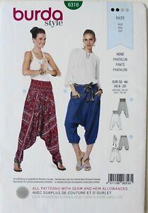 Burda 6316 Misses Harem Pants Belt  Sewing Pattern Sz 6-20