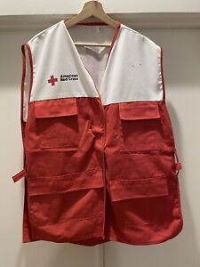 American Red Cross Disaster Relief RED White Volunteer Vest One Size Adult L VTG