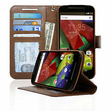 Navor Folio Wallet Case for Motorola Moto G 2nd Gen Card Money Pockets ID Window