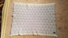 "Pendelton Blanket 100% Wool Portland Oregon Blue and White 42"" x 52"" Made in USA"